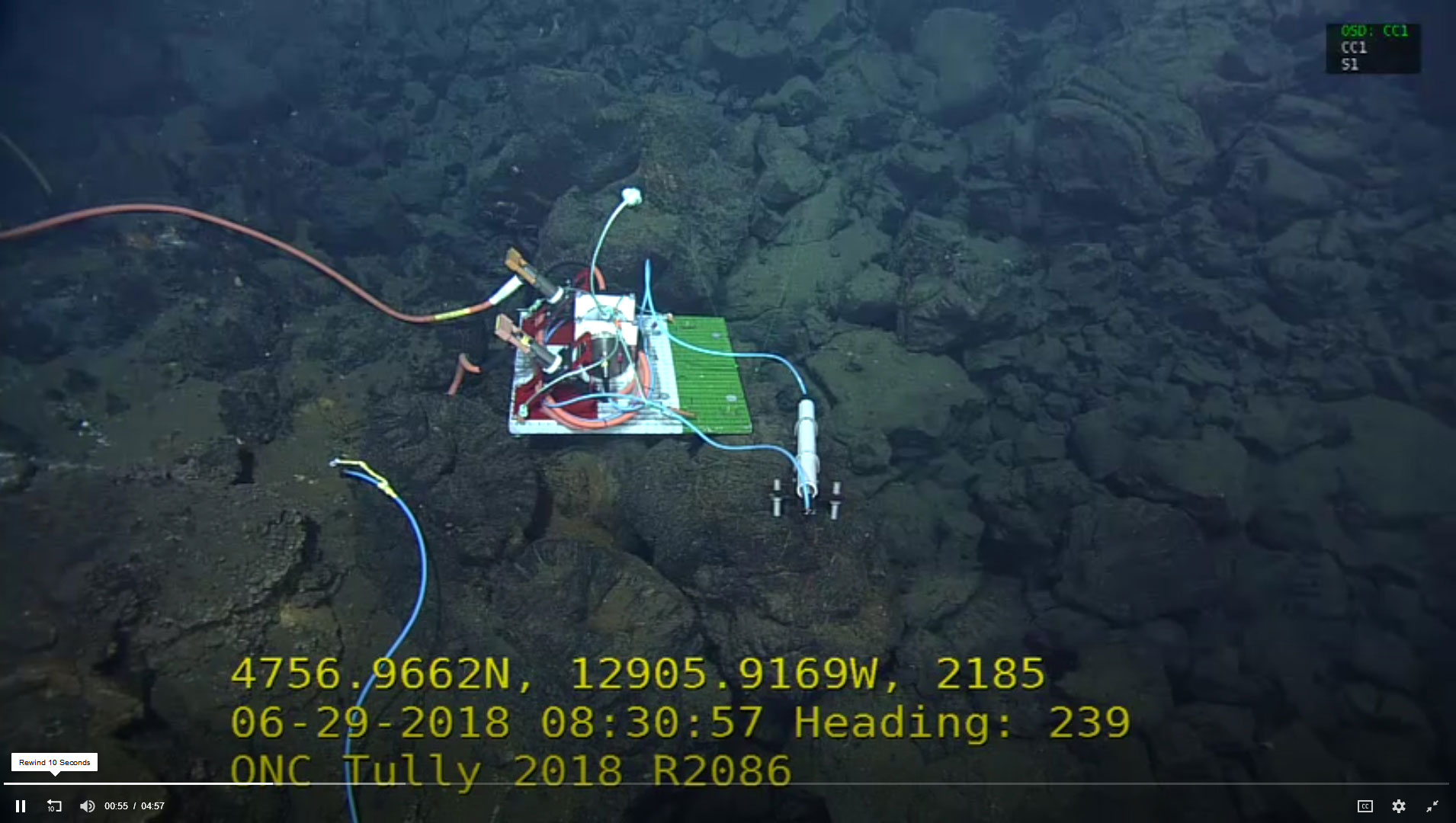 Installed and connected Maris Ocean Bottom Seismometer and interface unit