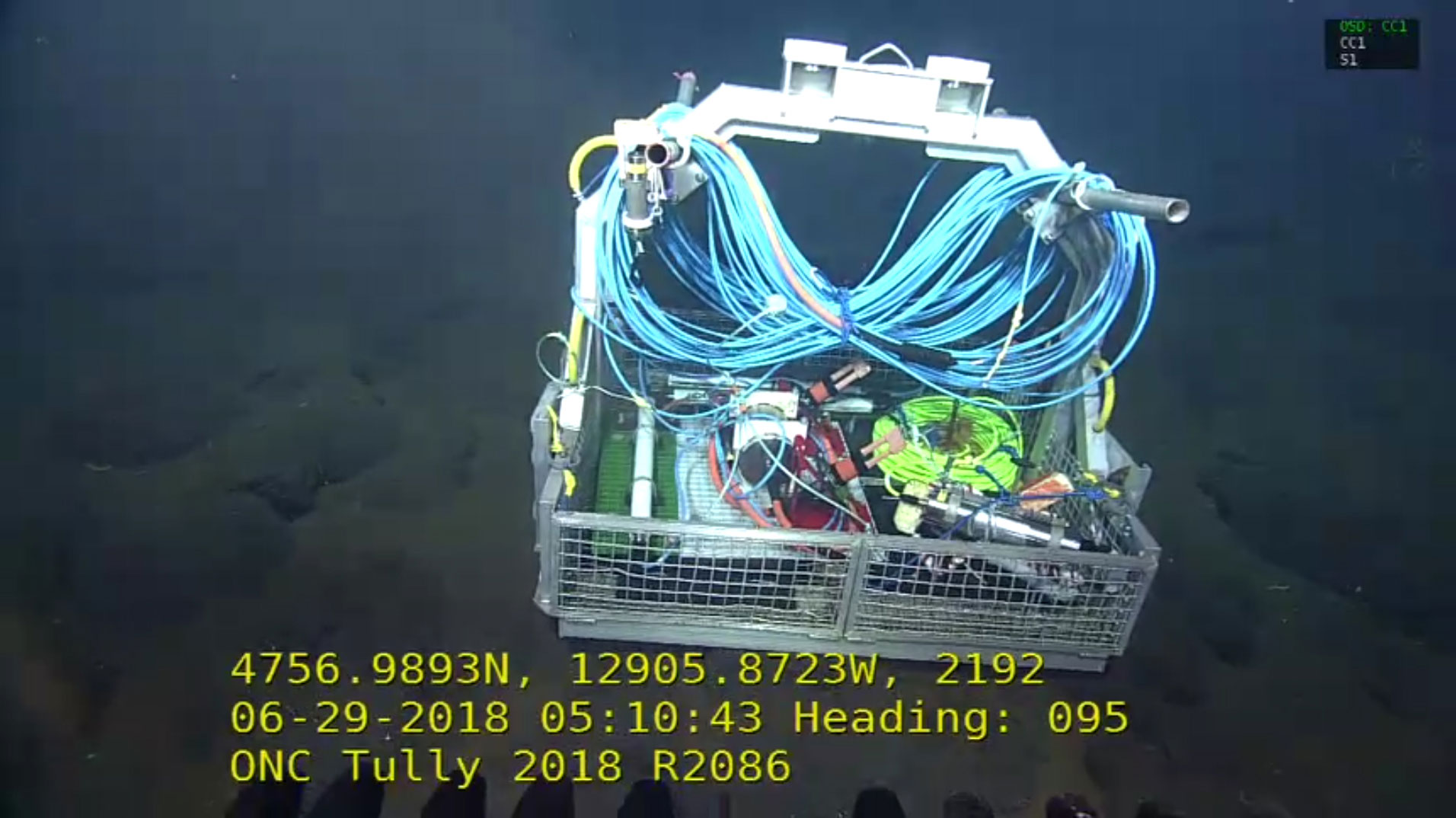 Remotely operated vehicle toolbox containing Maris Ocean Bottom Seismometer, interface unit and cabling